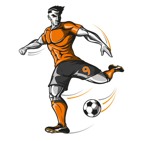 Soccer player kick Stock Vector - 102339988