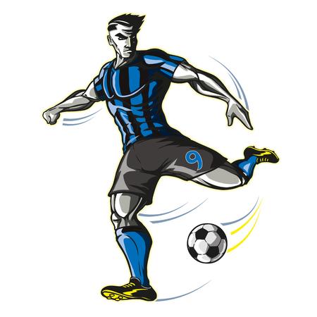 Soccer player kick Stock Vector - 102413858