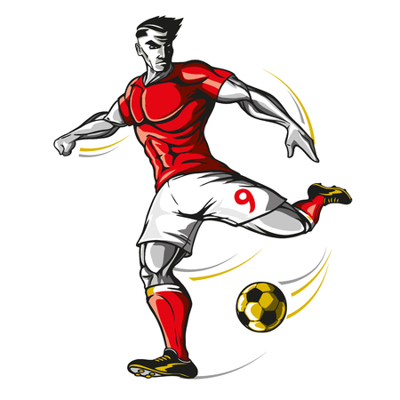 Soccer player kicking a ball isolated on a white background, vector illustration.