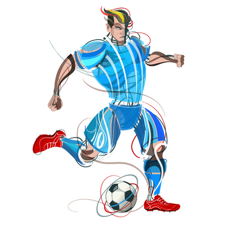 Soccer player with graphic trails Stock Vector - 102271643