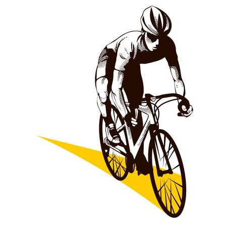 Male cyclist with helmet on white background. Graphic illustration with cyclist in action and yellow trail as a road. Sport concept. Çizim