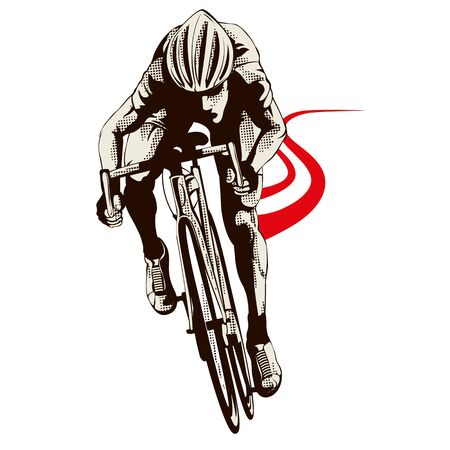 Male cyclist with helmet on white background. Graphic illustration with cyclist in action, red street in the background. Sport concept. Graphic element in separate layer.