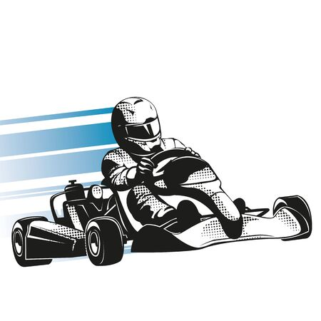 Speed kart racing poster vector image. Championship extreme transportation.