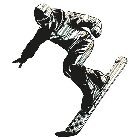 Snowboarder jumping on white background. Vector illustration of boy in action on a snowboard. Rider with snowboard. Winter sport icon.