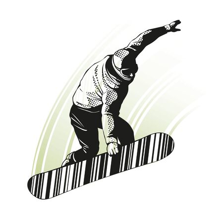 Snowboarder at jump on white background. Graphic illustration with snowboarder in action. Sport concept. Graphic element in separate layer.