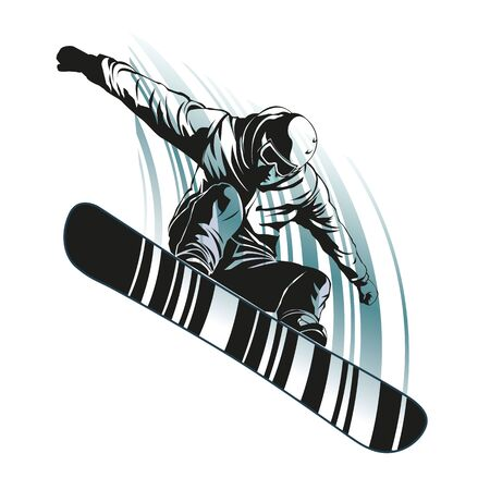 Snowboarder at jump on white background, frontal view. Graphic illustration with snowboarder in action. Sport concept. Graphic element in separate layer. Иллюстрация