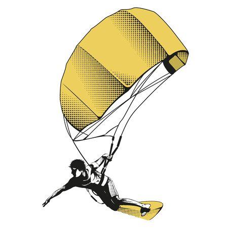 Kitesurfer saltando sobre una tabla de kitesurf en un moderno diseño plano. Ilustración con niño haciendo kitesurf y elementos de texto y texto en el fondo. Concepto de actividades deportivas y de vacaciones de verano. Ilustración de vector
