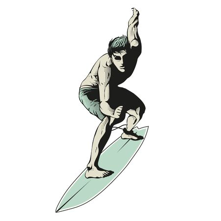 Male surfer on surfboard vector illustration. Illustration of surfer riding a big wave on white background. Design for poster, t-shirt and various graphic material. Illusztráció