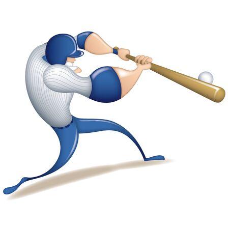 Baseball player character swinging baseball hit hit baseball illustration. For posters, graphic element, art print, flyer and mascot.
