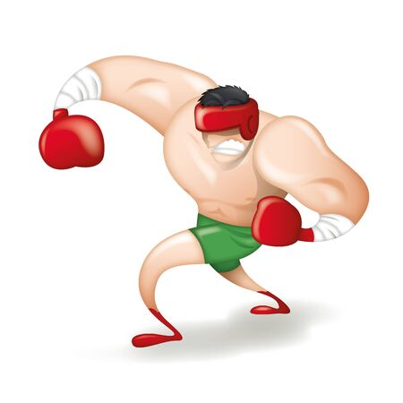 Cartoon character boxer on white background