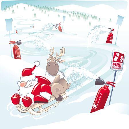 Santa Claus and a reindeer on a sledding