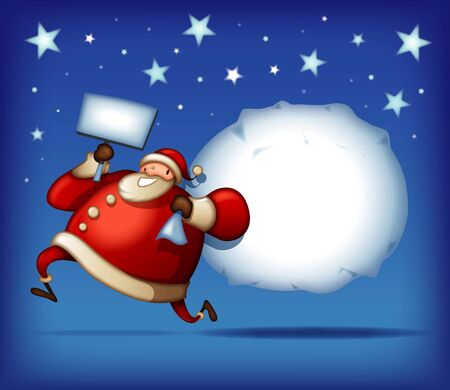 Santa Claus running with christmas message bag 일러스트