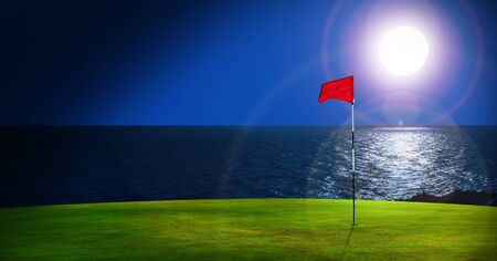 Evening golf course with sea view