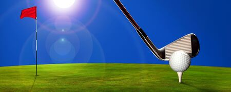 Golf course with blue sky