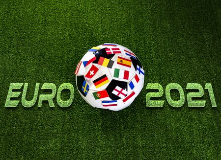 Euro 2021 football championship. Soccer ball with flags of European countries