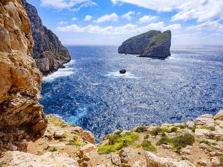 Cliffs in Sardinia in the Porto Conte Regional Natural Park Stock Photo