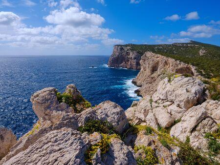 Panoramic view of the rocky cliffs of Porto Conte Regional Natural Park. Alghero, Sardinia, Italy Stock fotó