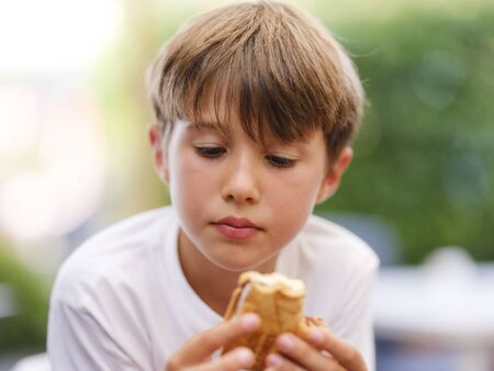 Close up portrait of beautiful, cute, little boy, holding ice cream sandwich in his hand, looking at ice cream