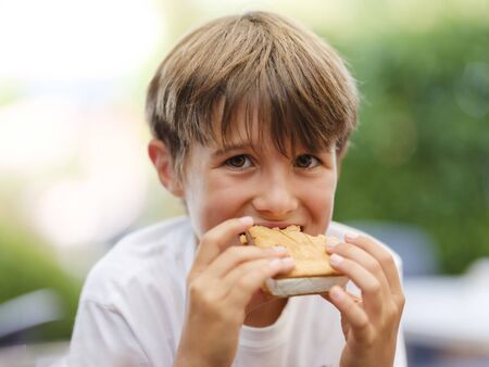 Close up portrait of beautiful, cute, little boy, holding ice cream sandwich in his hand, looking ahead Stock fotó