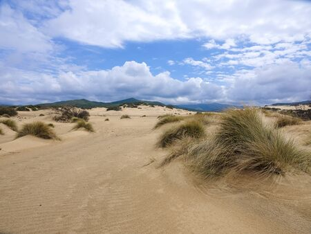 The wonderful oasis of Piscinas, with imposing and sinuous dunes of fine, warm golden sand, considered amongst the most beautiful in the world Stock fotó