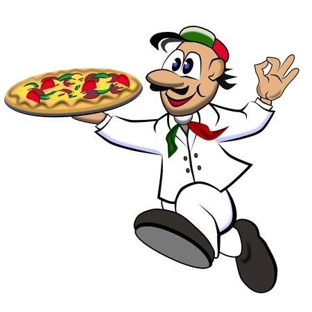 schnell Pizza boy Standard-Bild