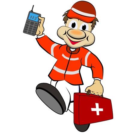 accident cartoon: ambulance man Stock Photo