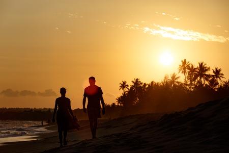 Beautiful sunset landscape tropical beach in Sri Lanka.