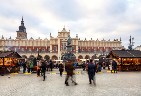 KRAKOW, POLAND, EUROPE - December 29, 2016: Fantastic view of the Christmas, New Years Fair in KRAKOW. Main Market Square and Sukiennice (The Cloth Hall) in Krakow, Poland, Europe