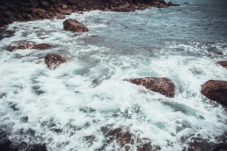 tropical beach. Landscape rocky coast ocean. Instagram effect (vintage)
