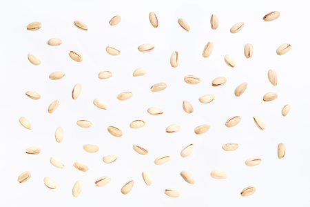 Nuts pattern - cashews on white background. Concepts about decoration, healthy eating and food background. Stock Photo - 87985028