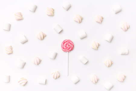 Pattern sweet marshmallow, candy on white background, top view flat lay. Isolated minimal concept above decoration, view white marshmallow, food background Stock Photo - 87985064