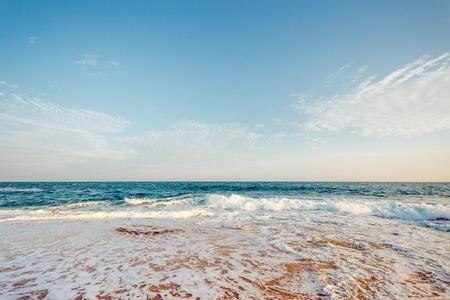 Beautiful morning landscape tropical beach. Stock Photo