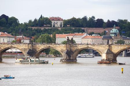 Prague, Czech Republic, Europe - July 11, 2017: panorama cityscape, view of Charles Bridge in Prague, Czech Republic Editorial
