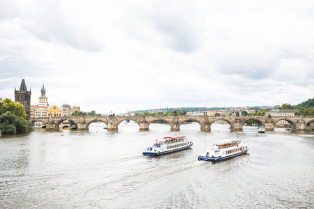 Panorama cityscape, view of Charles Bridge in Prague, Czech Republic
