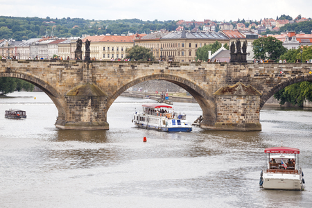 Prague, Czech Republic, Europe -  panorama cityscape, view of Charles Bridge in Prague, Czech Republic Editorial