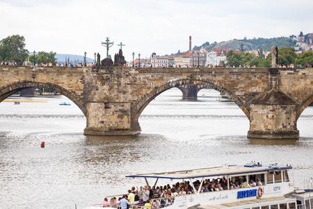 Prague, Czech Republic, Europe - panorama cityscape, view of Charles Bridge in Prague, Czech Republic Editorial