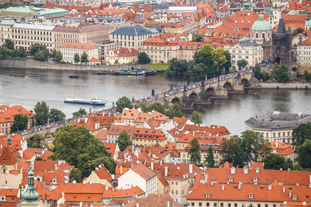 Prague, Czech Republic, Europe - July 12, 2017: panorama cityscape, view of Charles Bridge in Prague, Czech Republic