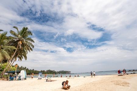 Mirissa, SRI LANKA, Southern Asia - February 17, 2016: Beautiful morning landscape tropical beach. Mirissa Beach, Sri Lanka