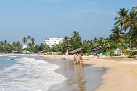 Mirissa, SRI LANKA, Southern Asia - February 18, 2016: Beautiful morning landscape tropical beach. Mirissa Beach, Sri Lanka