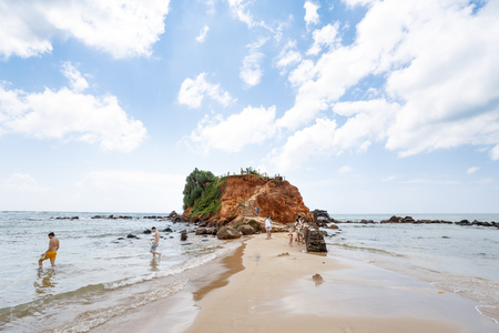 Mirissa, SRI LANKA, Southern Asia - February 19, 2016: Beautiful morning landscape tropical beach. Mirissa Beach, Sri Lanka Editorial