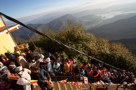 Sri Lanka, Southern Asia - February 14, 2015: Pilgrims climb the trail to the holy mountain Adams Peak ( also Sri Pada ) is the most popular pilgrim place in Sri Lanka