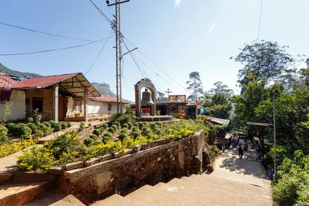 Sri Lanka, Nuwara Eliya, Southern Asia - February 14, 2016: Pilgrims climb the trail to the holy mountain Adams Peak ( also Sri Pada ) is the most popular pilgrim place in Sri Lanka
