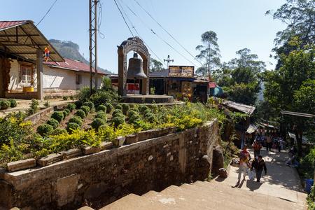Sri Lanka, Southern Asia - February 14, 2016: Pilgrims climb the trail to the holy mountain Adams Peak ( also Sri Pada ) is the most popular pilgrim place in Sri Lanka Editorial