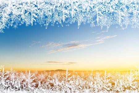 Christmas background, frame snowflakes Standard-Bild - 92192881