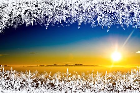 Weihnachtshintergrund, Feldschneeflocken Standard-Bild - 92196584