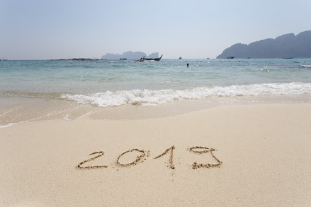 Happy New Year 2019, lettering on the beach. Stock Photo - 110787482