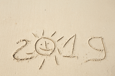 Happy New Year 2019, lettering on the beach. Stock Photo - 110787225