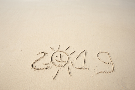 Happy New Year 2019, lettering on the beach. Stock Photo - 110787153
