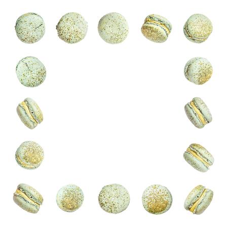 Color cake macarons, fly falling sweet macaroon. Stock Photo - 122270797