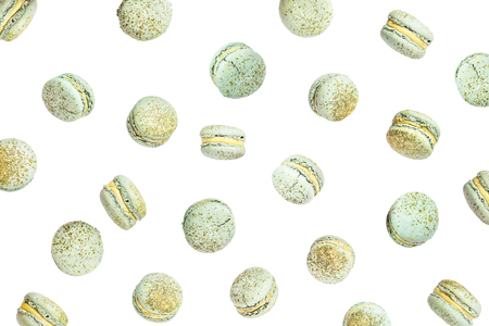 Color cake macarons, fly falling sweet macaroon. Stock Photo - 122270795